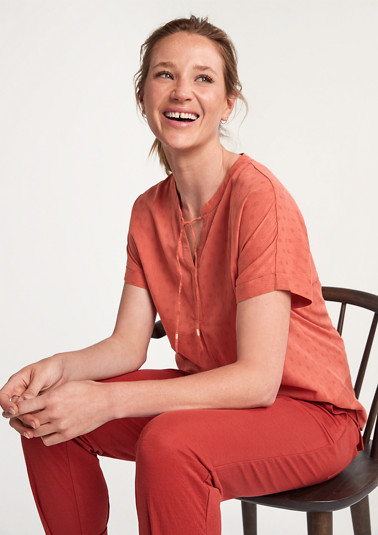 Short sleeve blouse with ties from comma