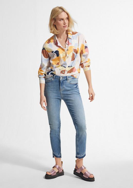 Slim Fit: Jeans mit offenem Saum