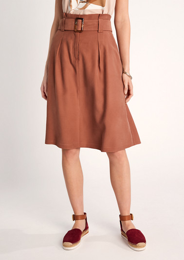 Midi skirt with a paperbag waistband from comma