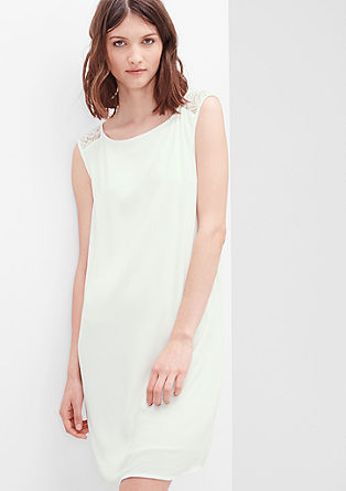 Casual crêpe dress with a lace yoke from s.Oliver