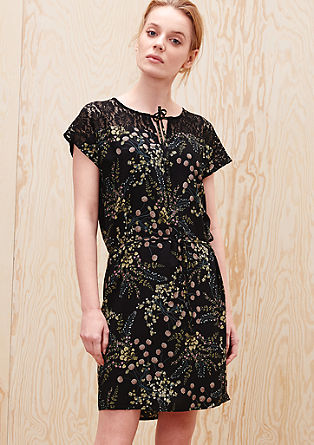 Floral blouse dress with lace from s.Oliver