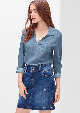 Majica v videzu srajčne bluze iz mešanice materialov