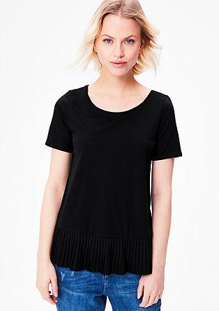 Jerseyshirt mit Plissee-Schößchen