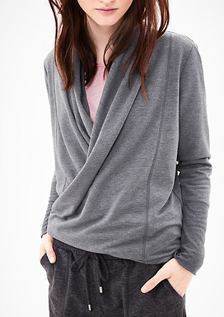 Sweatshirt jacket in a wrap-over effect from s.Oliver