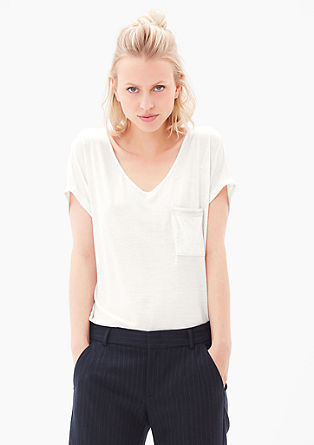 T-shirt with an embroidered breast pocket from s.Oliver