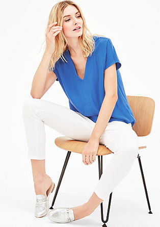 Crêpe blouse with a V-neckline from s.Oliver