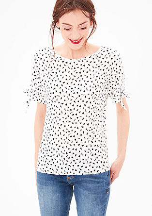 Cut-Out-Bluse mit Multiprint