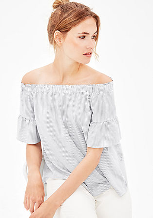 Off Shoulder-Bluse mit Volants