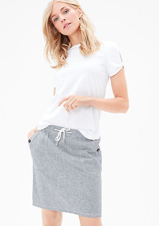 Linen skirt with stripes from s.Oliver