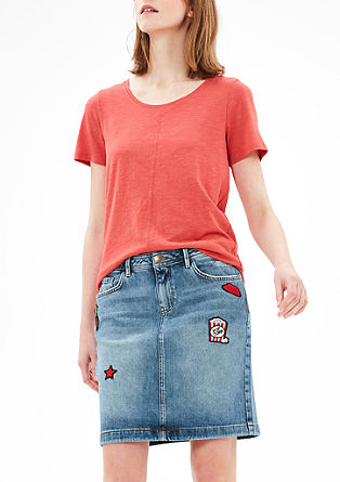 Denim skirt with appliqués from s.Oliver