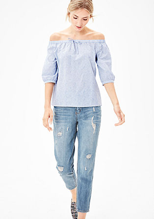 Off-shoulder blouse met strepen