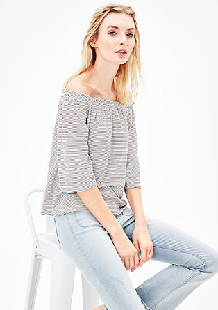 Off-the-shoulder top with 3/4-length sleeves from s.Oliver
