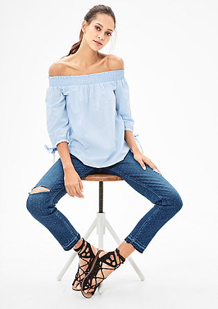 Gemusterte Off Shoulder-Bluse