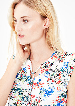 Blouse top with an all-over floral print from s.Oliver