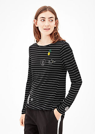 Tričko s dlouhým rukávem s výšivkami