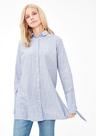 Lange gestreepte blouse met geknoopte details
