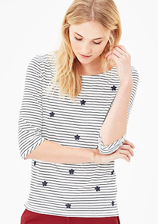 Striped top with an embroidered pattern from s.Oliver