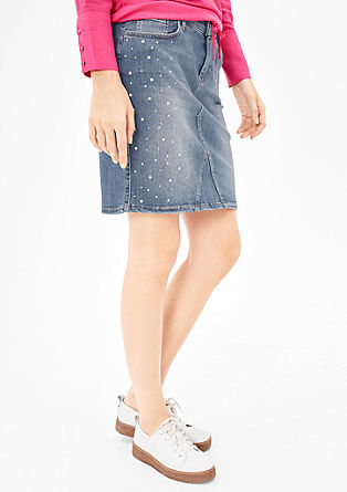 Denim skirt with gemstones from s.Oliver