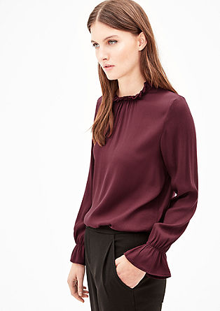 Textured blouse top with frills from s.Oliver