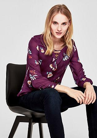 Crêpe-Bluse mit floralem Print
