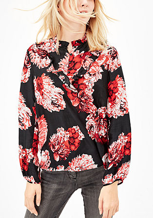High-fastening frilled blouse from s.Oliver