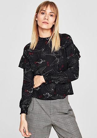 Bluza z naborki iz krepa, s stoječim ovratnikom