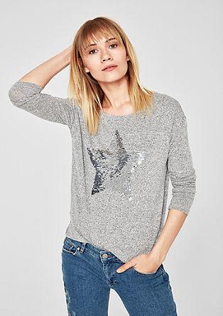 Melange-Shirt mit Wendepailletten