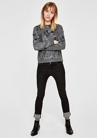 Sweatshirt mit Blüten-Print