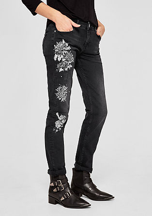 Shape slim: jeans met folieprint