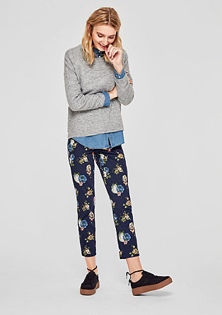 Shape Slim: pantalon en satin à fleurs de s.Oliver