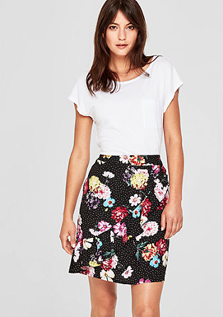 Rok met volant en all-over print