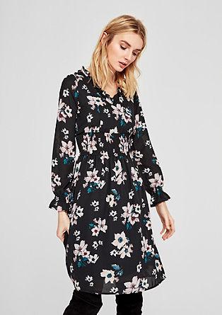 Obleka iz šifona s cvetličnim vzorcem
