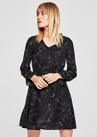 Tailliertes Crêpe-Kleid mit Musterprint