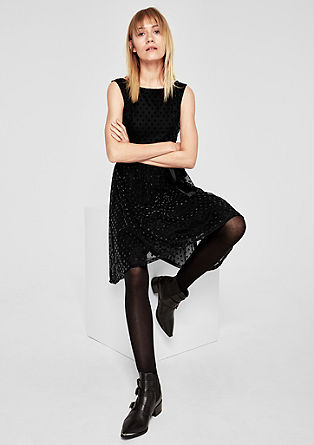 Mesh dress with jacquard polka dots from s.Oliver