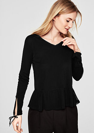 Delicate mesh top with a peplum from s.Oliver