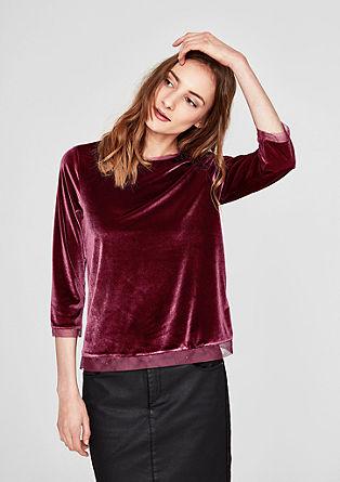 Shirt aus edlem Samt mit Mesh-Blende