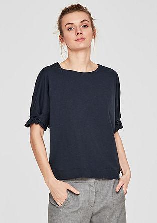 Shirt met vleermuismouwen en plooitjes