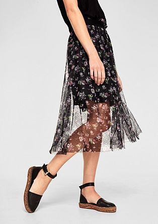 midi sukně z potištěné síťoviny