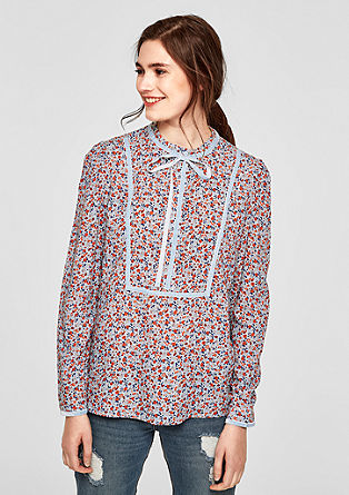 High-Neck-Bluse mit Samtborte