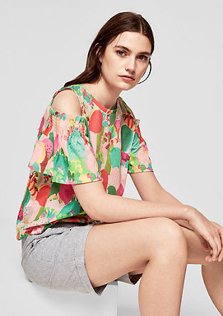 Cold Shoulder-Shirt mit Printmuster