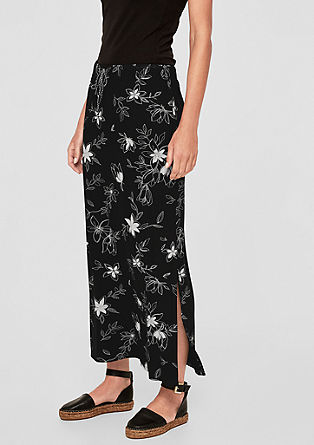 Patterned maxi skirt with kick pleats from s.Oliver