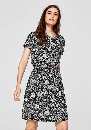 Printed jurk met structuur