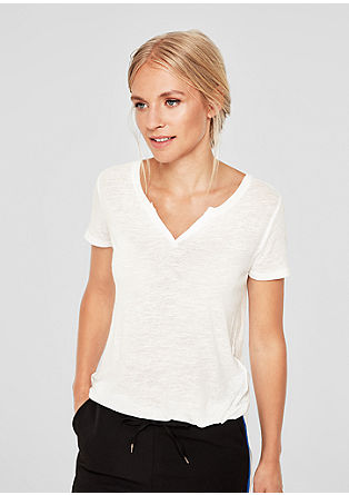 Casual T-shirt with linen from s.Oliver
