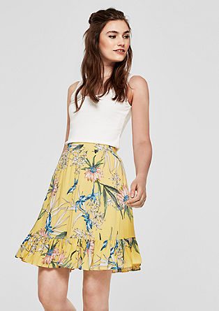 Midi skirt with flounce hem from s.Oliver