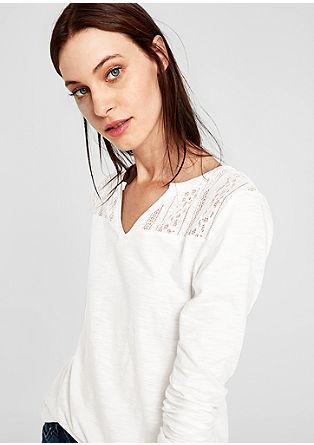 Majica z dolgimi rokavi s čipkastim oplečkom