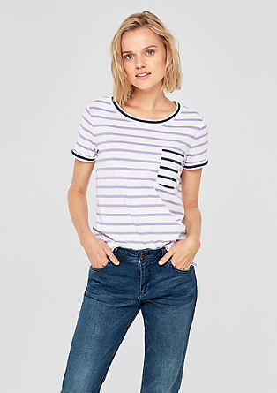 Proužkované tričko s barevnými kontrasty