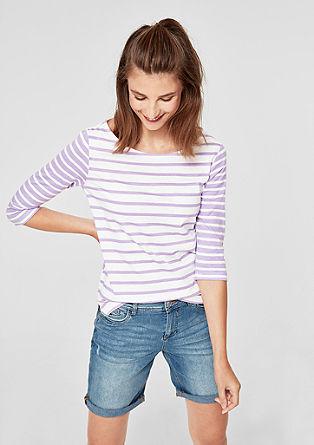 3/4-Arm-Shirt im Streifen-Design