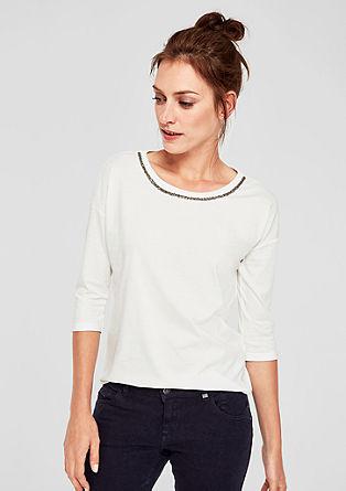 Jerseyshirt mit Schmuckperlen