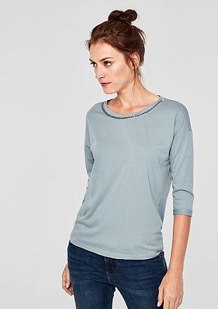 Žerzejové triko s ozdobnými perlami
