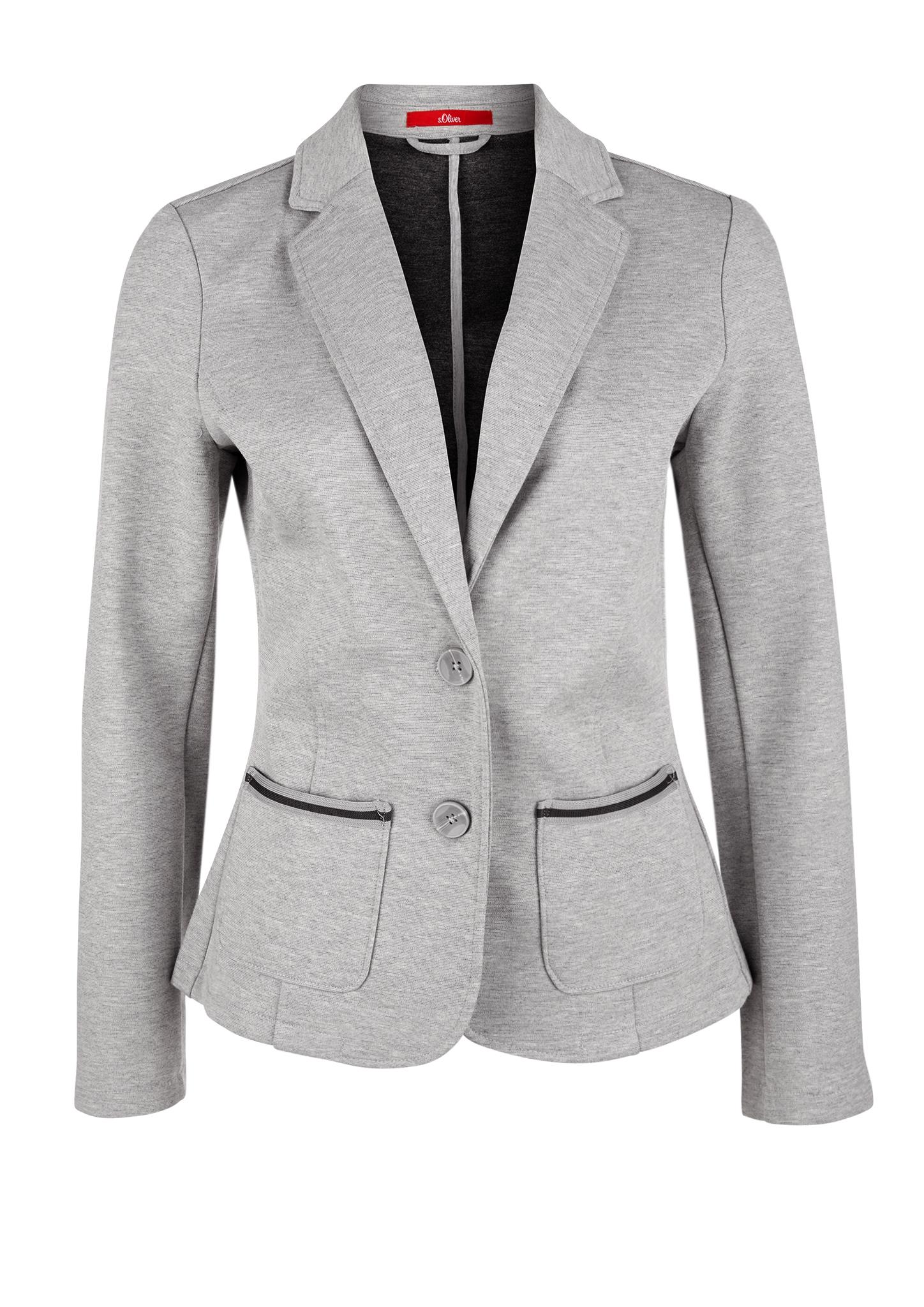 Sweat-Blazer | Bekleidung > Blazer > Sweatblazer | Grau | 44% polyester -  40% viskose -  12% baumwolle -  4% elasthan | s.Oliver